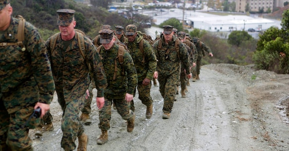 Marine Corps Air Station Camp Pendleton Marines conduct a hike as part of 'back in the saddle' training Jan. 5. The bi-annual training consists of various classes and briefs from air station personnel and concluded with a 6-mile hike aboard Camp Pendleton. (U.S. Marine Corps Photo by Pfc. Emmanuel Necoechea/ Released)