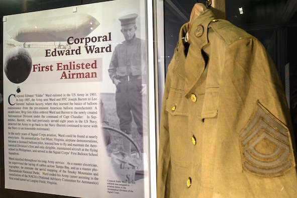 This blouse, on display in the Early Years Gallery, was worn by Edward Ward during his military career. Cpl. Ward was the first enlisted man to be assigned aviation duties in the Aeronautical Division of the Signal Corps. The items were donated by the Ward Family. (U.S. Air Force photo)