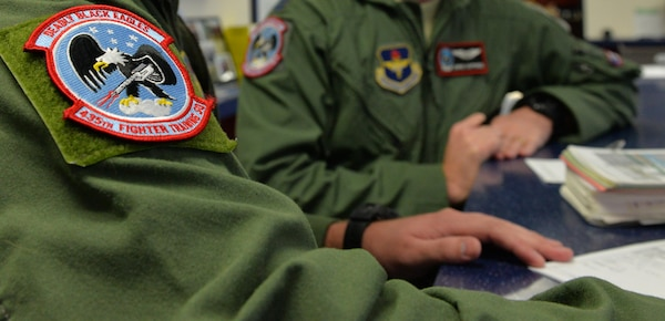 A patch displaying the Deadly Black Eagle emblem is displayed on a flight suit of a 435th Fighter Training Squadron student pilot Jan. 5. (U.S. Air Force photo by Tech. Sgt. Beth Anschutz)