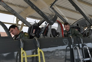 Capt. Chris Umphres (right), 435th Fighter Training Squadron flight commander and instructor pilot, prepares for take-off in a T-38 with First Lt. Kaleb Jenkins, 435th FTS student pilot, before a training mission Jan. 5 at Joint Base San Antonio-Randolph, Texas. (U.S. Air Force photo by Tech. Sgt. Beth Anschutz)