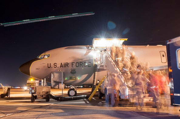 Pennsylvania Air National Guardsmen from the 171st Air Refueling Wing near Pittsburgh prepare to deploy a KC-135 aircraft and about 25 Airmen to the Middle East the night of Jan. 5, 2016.  (U.S. Air National Guard Photo by Master Sgt. Shawn Monk / Released)