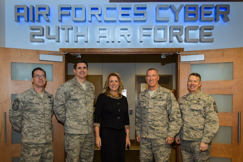 Secretary of the Air Force Deborah Lee James (center) poses with senior leaders from 24th and 25th Air Force during a visit at Joint Base San Antonio - Lackland, Texas Jan 5.  With James is Command Chief Master Sgt. Roger Towberman, 25th Air Force (left), Maj. Gen. B.J. Shwedo, 25th Air Force commander, Maj. Gen. Ed Wilson, 24th Air Force commander, and Command Chief Master Sgt. Brendan Criswell, 24th Air Force (right). (US Air Force photo by MSgt Luke Thelen)