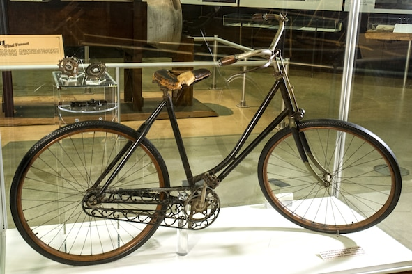 Wright bicycle on display in the Early Years Gallery at the National Museum of the United States Air Force. (U.S. Air Force photo)