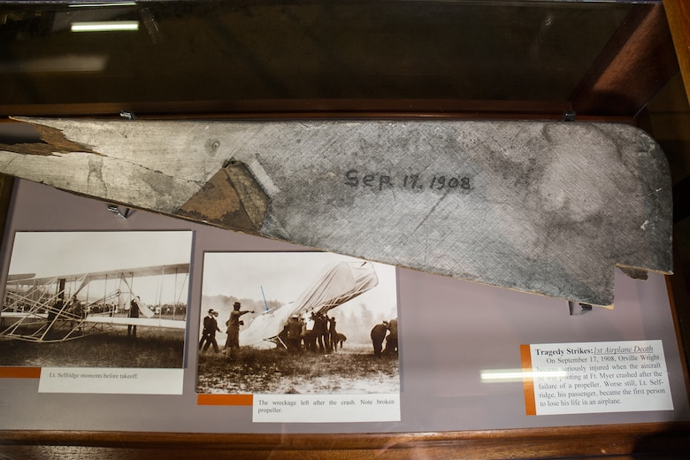 Fragments of the propeller blade that broke during the fateful flight on Sept. 17, 1908, where the right propeller on the 1908 Flyer fouled a guy wire, causing the plane to crash to earth. (U.S. Air Force photo).