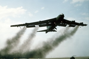 A B-52G Stratofortress aircraft takes off on its return flight to the United States after being deployed during Operation Desert Storm.