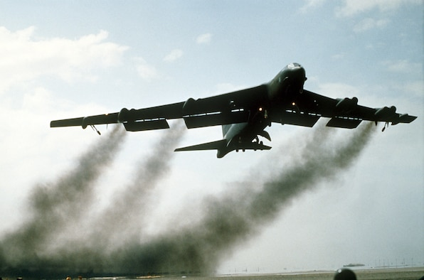 A B-52G Stratofortress aircraft takes off on its return flight to the U.S. after being deployed during Operation Desert Storm. (Courtesy photo)