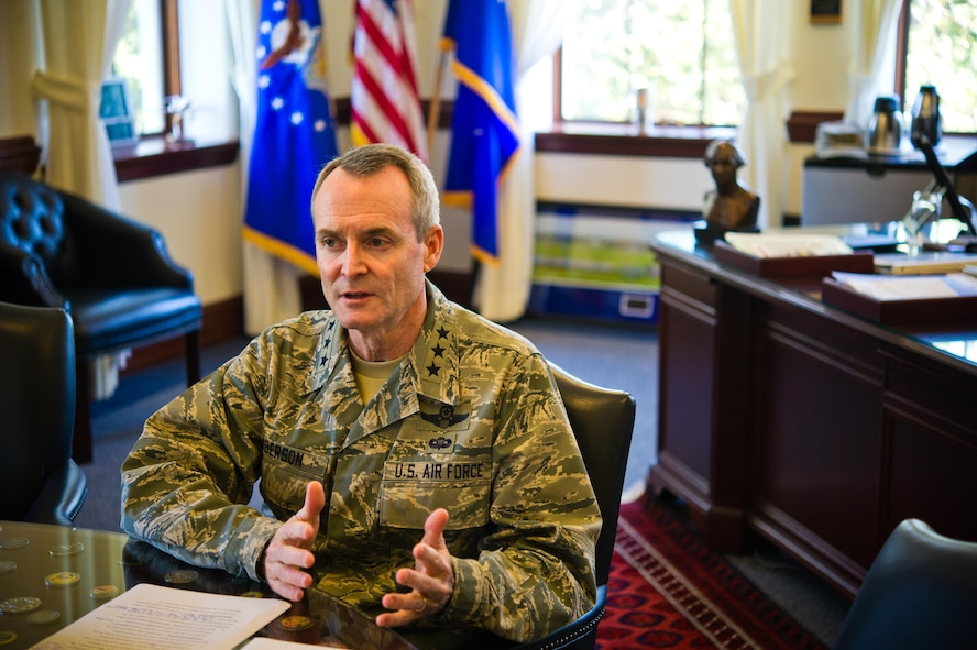 Lt. Gen. Darryl Roberson, commander of Air Education and Training Command, discusses his  philosophy on safety and mishap prevention during an interview at Joint Base San Antonio-Randolph, Nov. 23, 2015. (U.S. Air Force photo by Tech. Sgt. Sarayuth Pinthong)