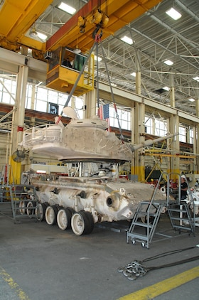 Genesis II, an M60A1 Main Battle Tank, is being dissembled as part of a restoration project between Marine Depot Maintenance Command and the National Museum of the Marine Corps, Oct. 27, 2015. The tank, along with an Assault Amphibious Vehicle and a Humvee, were restored at Production Plant Albany in Albany, Ga., and are scheduled to be displayed in the NMMC November 2018.