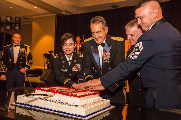 U.S. Army Maj. Gen. Stephen Danner, Adjutant General of the Missouri National Guard cuts the birthday cake during the 7th Annual Missouri National Guard Birthday Ball, at Tan-Tar-A Resort, Osage Beach, Mo., December 12, 2015. The National Guard was celebrating its 379th birthday, which was established on December 13, 1636. (U.S. Air National Guard photo by Senior Airman Patrick P. Evenson/Released)