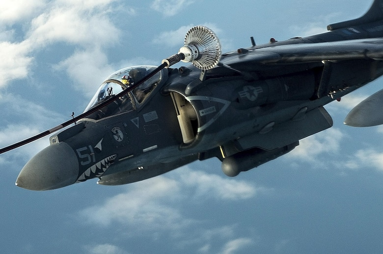 A U.S. Marine Corps AV-8B Harrier II refuels over Iraq in support of Operation Inherent Resolve, Dec. 31, 2015. OIR is the coalition intervention against the Islamic State of Iraq and the Levant. (U.S. Air Force photo by Tech. Sgt. Nathan Lipscomb)