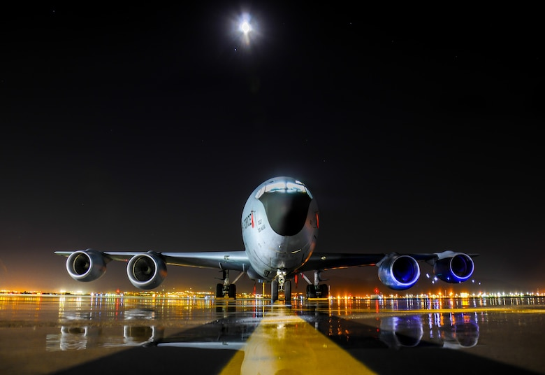A KC-135R Stratotanker rests on the flightline at Roland R. Wright Air National Guard Base, Utah, June 25, 2015. The aircraft's principal mission is air refueling, which enhances the Air Force's capability to accomplish its primary missions of global reach and global power. (U.S. Air National Guard photo/Senior Airman Colton Elliott)