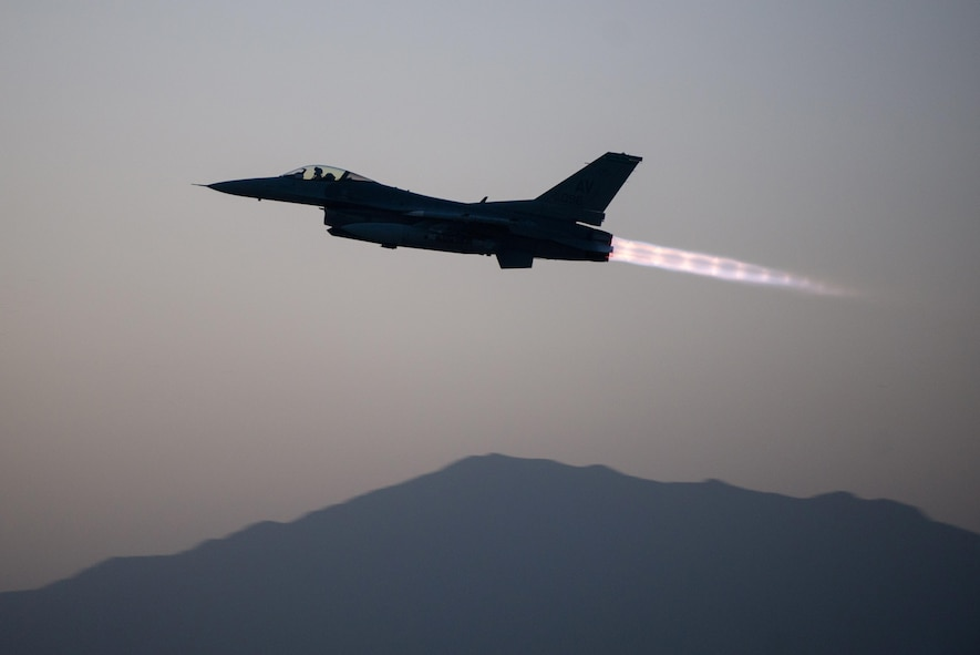 An F-16 Fighting Falcon assigned to the 555th Expeditionary Fighter Squadron takes off on a combat sortie from Bagram Airfield, Afghanistan, Sept. 6, 2015. The F-16 is a multi-role fighter aircraft that is highly maneuverable and has proven itself in air-to-air and air-to-ground combat. (U.S. Air Force photo/Tech. Sgt. Joseph Swafford)