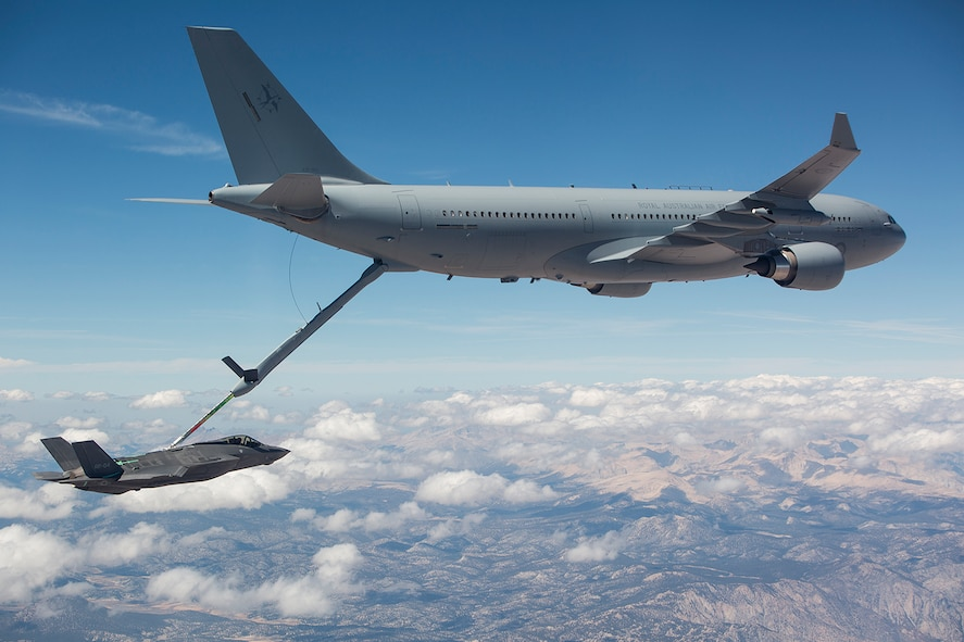 The Royal Australian Air Force completes the first fuel transfer with the air refueling boom from an RAAF KC-30A Multi Role Tanker Transport to a U.S. Air Force F-35A Lightning II Sept. 25, 2015, at Edwards Air Force Base, Calif. Refueling between the KC-30A and F-35A is an important step toward the KC-30A's achievement of final operational capability and represents continued progress in the development of the F-35A. (Lockheed Martin courtesy photo/Jonathan Case)