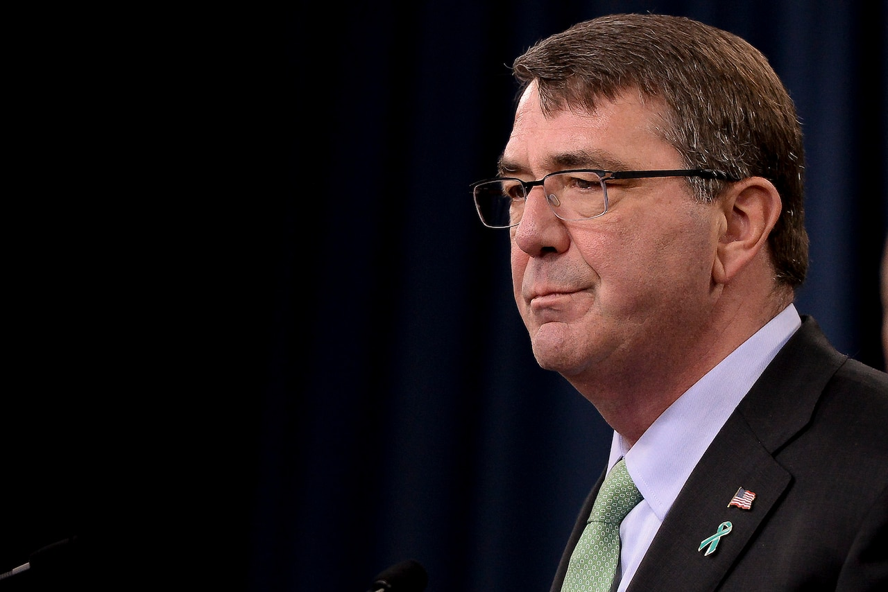 Defense Secretary Ash Carter tells the Pentagon press corps that the fiscal year 2014 annual report on sexual assault in the military helps the services understand and correct flaws in the program, May 1, 2015. DoD photo by Navy Petty Officer 2nd Class Sean Hurt