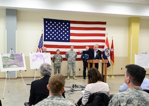 During a press conference Jan. 6, 2016, at Jefferson Barracks Air National Guard Base, Missouri Gov. Jay Nixon briefed the media and members of the Missouri National Guard on debris removal and recovery operations under way that the Guard will lead with federal, state and local partners in the coming weeks following historic flooding across the state.