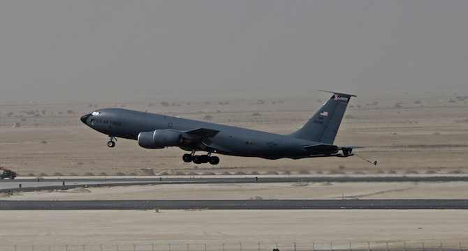A KC-135 Stratotanker takes off from the flightline at Al Udeid Air Base, Qatar, Feb. 18, 2015. The KC-135 fleet at Al Udeid AB flew more than 14,700 sorties in 2015 accumulating 103,419 combat hours in support of Operations Inherent Resolve and Freedom's Sentinel. (U.S. Air Force photo/Senior Airman Kia Atkins)