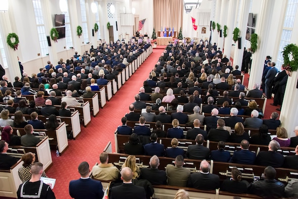 The four Air Force Office of Special Investigations special agents and two security forces defenders who were killed by a suicide bomber near Bagram Airfield, Afghanistan, Dec. 21, 2015, are remembered during a memorial service at the U.S. Marine Memorial Chapel in Quantico, Va., Jan. 7, 2016. (U.S. Air Force photo/Michael Hastings)