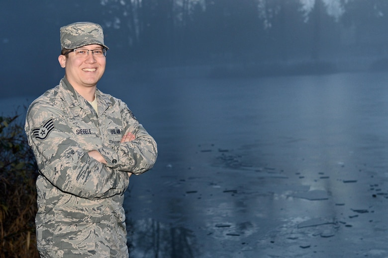 Staff Sgt. Matthew Siegele, the 627th Force Support Squadron sports and fitness NCO in charge, saved a little girl from drowning on the afternoon of Jan. 1, 2016, when she was walking on a frozen Carter Lake at Joint Base Lewis-McChord, Wash., and fell through the ice. (U.S. Air Force photo/Senior Airman Divine Cox)