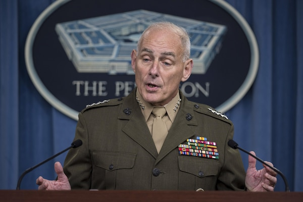 Marine Corps Gen. John F. Kelly, commander of U.S. Southern Command, briefs reporters on the command's operations during a briefing at the Pentagon, Jan. 8, 2016. DoD photo by Air Force Senior Master Sgt. Adrian Cadiz