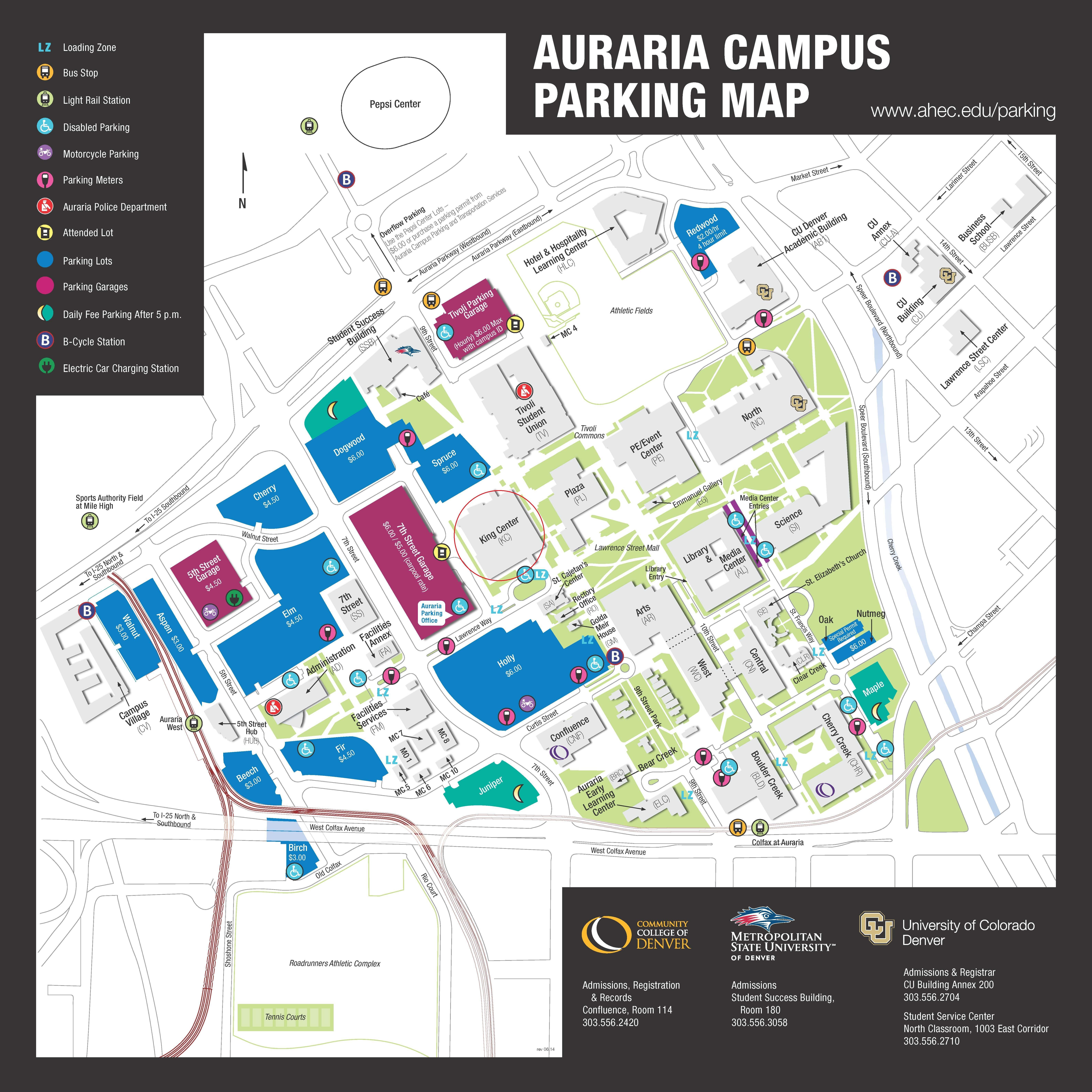 Auraria Campus Parking Map
