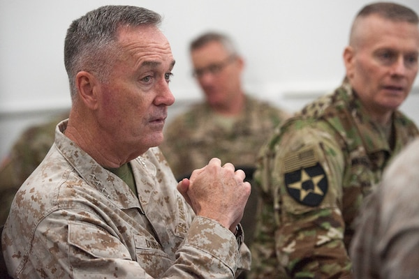 U.S. Marine Corps Gen. Joseph F. Dunford Jr., center left, chairman of the Joint Chiefs of Staff, and Iraq Counter Terrorism Service Director Gen. Talib Shegati al-Kenan, listen to a brief about the Iraqi Army's recent efforts in Ramadi at the Combined Joint Operations Center in Baghdad, Jan. 8, 2016. Dunford met with U.S. and coalition leaders in Iraq to assess the progress against the Islamic State. (DoD Photo by Navy Petty Officer 2nd Class Dominique A. Pineiro)