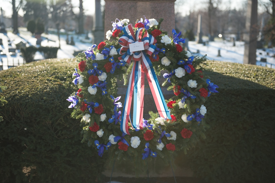 A wreath provided by the White House on behalf of President Barack Obama sits on display at the grave of President Millard Fillmore, Forest Lawn Cemetery, Buffalo, N.Y., Jan. 7, 2015. The 107th AW from the Niagara Falls Air Reserve Station, Niagara Falls, N.Y., presented the wreath at a ceremony held by the University at Buffalo, a school which Fillmore was one of the founders. (U.S. Air National Guard Photo/ Staff Sgt. Ryan Campbell)