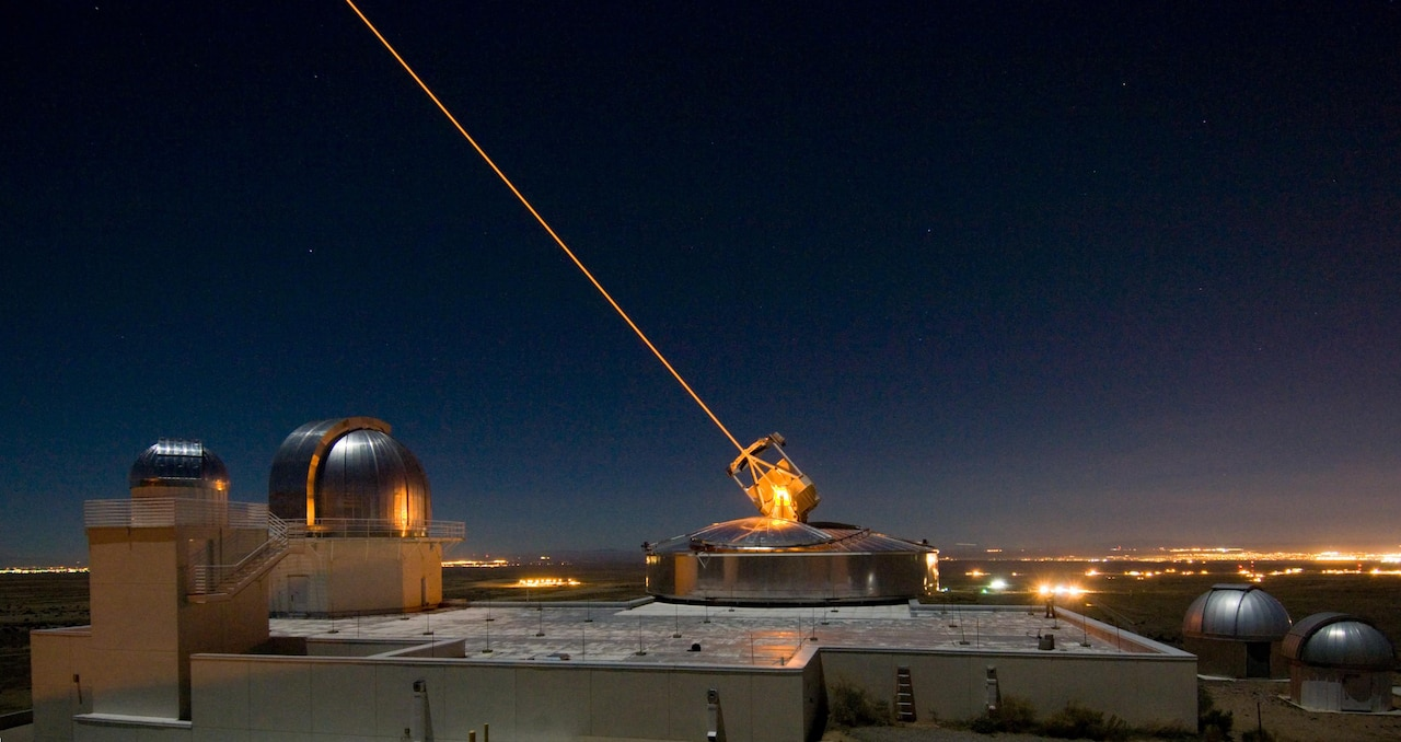 The Sodium Guidestar at the Air Force Research Laboratory Directed Energy Directorate's Starfire Optical Range. Researchers with AFRL use the Guidestar laser for real-time, high-fidelity tracking and imaging of satellites too faint for conventional adaptive optical imaging systems. The range's world-class adaptive optics telescope is the second largest telescope in the Defense Department. (Courtesy photo)