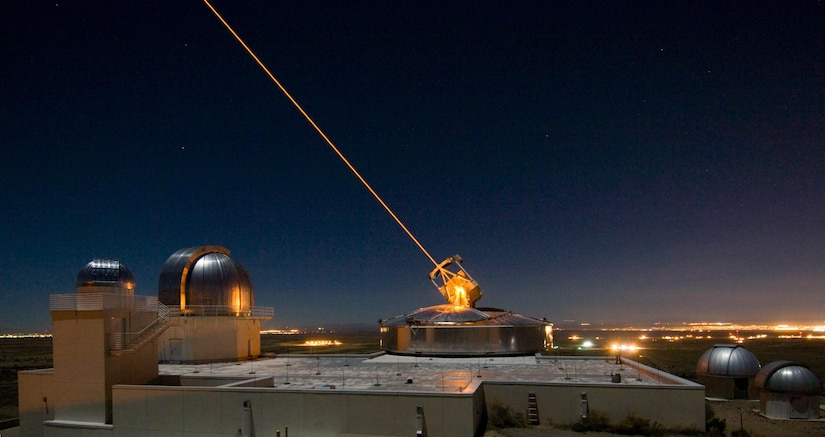 The Sodium Guidestar at the Air Force Research Laboratory Directed Energy Directorate's Starfire Optical Range. Researchers with AFRL use the Guidestar laser for real-time, high-fidelity tracking and imaging of satellites too faint for conventional adaptive optical imaging systems. The range's world-class adaptive optics telescope is the second largest telescope in the Defense Department. Air Force photo