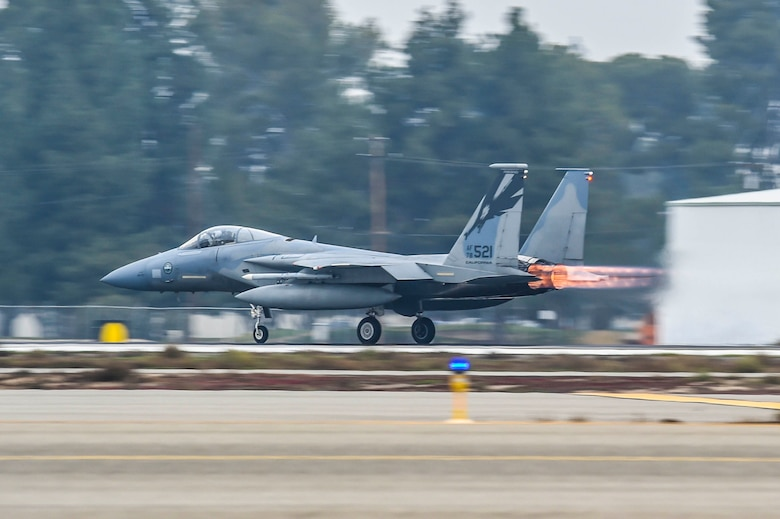 U.S. Air Force Col. John York, 144th Operations Group commander, takes off in an F-15C Eagle during his fini flight with the 144th Fighter Wing at the Fresno Air National Guard Base Jan. 8, 2016. (Air National Guard photo by Senior Airman Klynne Pearl Serrano)