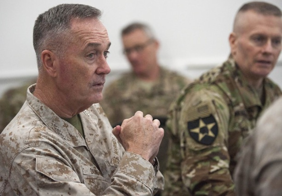 U.S. Marine Corps Gen. Joseph F. Dunford Jr., chairman of the Joint Chiefs of Staff, listens to a brief at the Combined Joint Operations Center in Baghdad, Jan. 8, 2016. (DoD Photo by Navy Petty Officer 2nd Class Dominique A. Pineiro)