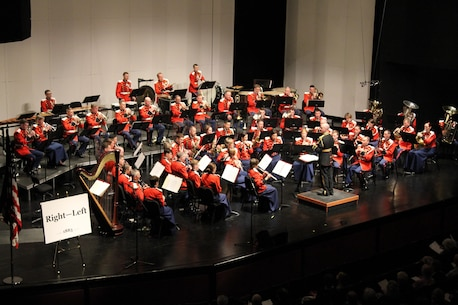 On Jan. 10, 2016, the U.S. Marine Band performed its annual Sousa Season Opener at George Mason University's Center for the Arts. (U.S. Marine Corps photo by Gunnery Sgt. Amanda Simmons/released)