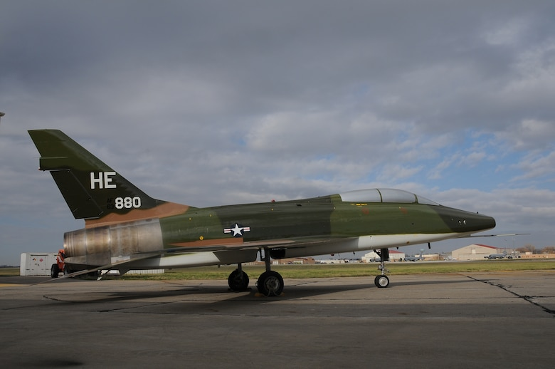 """The last North American Aviation, F-100 Super Sabre housed at the Aerospace Maintenance and Regeneration Group, or """"boneyard"""", was painted and restored at the Air National Guard paint facility in Sioux City, Iowa. The F-100 was flown by the Iowa National Guard's 174th TFG in Sioux City during the 1960's and 70's and will be placed on permanent static display at the National Guard Bureau at Andrews Air Force base in Maryland.  Air National Guard Photo by: Master Sgt. Vincent De Groot 185 ARW /PA"""
