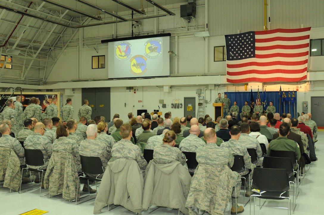 Col. Greg Semmel, commander of the 174th Attack Wing, speaks during the 152nd Air Operations Group squadron activation and assumption of command ceremony held at Hancock Field Air National Guard Base Jan. 9. (U.S. Air National Guard photo by Tech. Sgt. Justin Huett/Released)