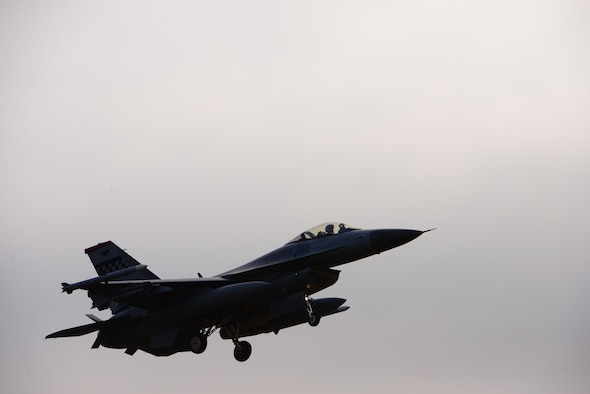 A U.S. Air Force F-16 Fighting Falcon from the 36th Fighter Squadron, conducts a low-level flight as part of a demonstration of force at Osan Air Base, Republic of Korea, Jan. 10, 2016. This demonstration was a response to recent provocative action by North Korea and included a B-52H Stratofortress from Andersen Air Force Base, Guam, A-10 Thunderbolt II's as well as a ROKAF F-15 Slam Eagle.