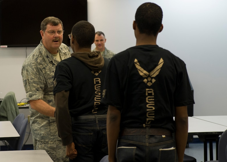 Col. Gregory Gilmour greets trainees assigned to the Development and Training Flight January 9, 2016 at JB Charleston. The DTF prepares new enlistees for their upcoming departure for Basic Military Training.