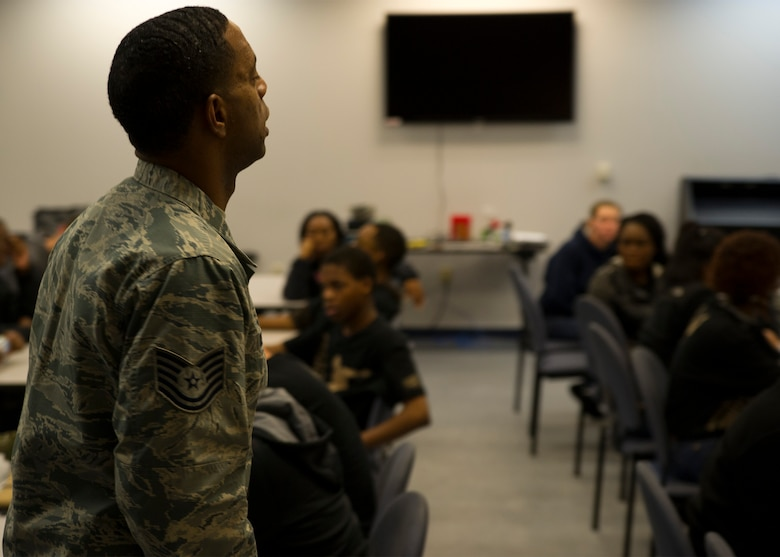 Tech. Sgt. Joshua Melton, the Development and Training Flight program coordinator for the 315th Airlift Wing at Joint Base Charleston, instructs participants of the DTF January 9, 2016 at JB Charleston. Trainees are taught the basics of Air Force protocol, marching and other skills prior to their departure for Basic Military Training.