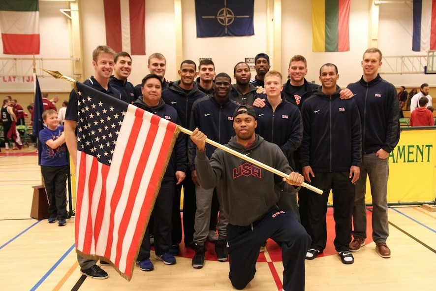 Team USA placed third in the 2015 Supreme Headquarters Allied Powers Europe Men's International Basketball Tournament Dec. 5, 2015, in Mons, Belgium. This was the second year Senior Airman Lortavious Smith, 50th Security Forces Squadron patrolman, was selected to play in the tournament. (Courtesy photo)