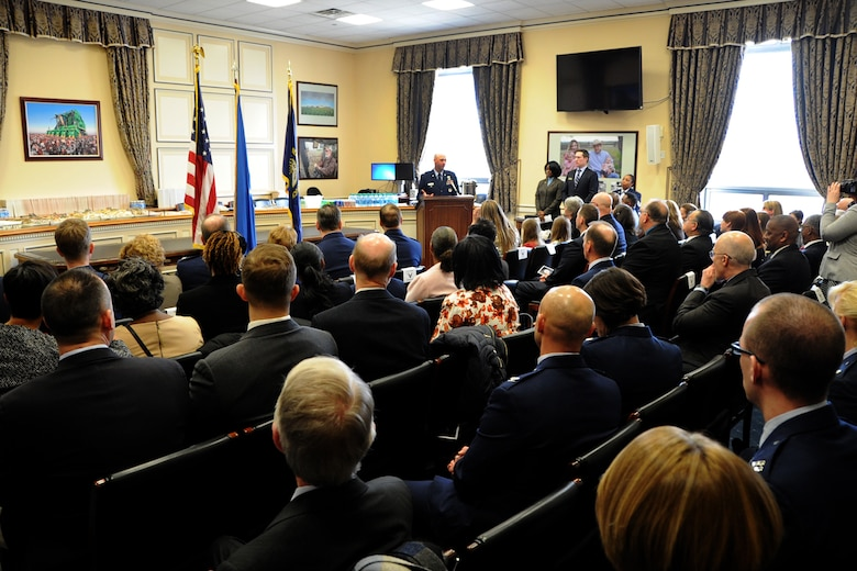 Lt. Col. Danny Davis, Air Force District of Washington A1 deputy director, speaks to attendees during his promotion ceremony at the U.S. Capitol Building, Washington D.C., January 7, 2016. As a native Kentuckian, Davis pinned on the rank of Colonel with assistance from family and U.S Congressman Hal Rogers, Kentucky's 5th Congressional District. (U.S. Air Force photo/Tech. Sgt. Matt Davis)