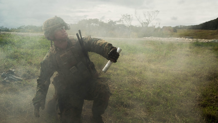 A Marine with Bravo Company, Battalion Landing Team 1st Battalion, 5th Marines, 31st Marine Expeditionary Unit, fires a flare during squad attack training on Camp Schwab in Okinawa, Japan, Jan. 6, 2016. Marines with Bravo Co., BLT 1/5, 31st MEU, conducted squad attack training in preparation for the MEU's upcoming spring deployment.