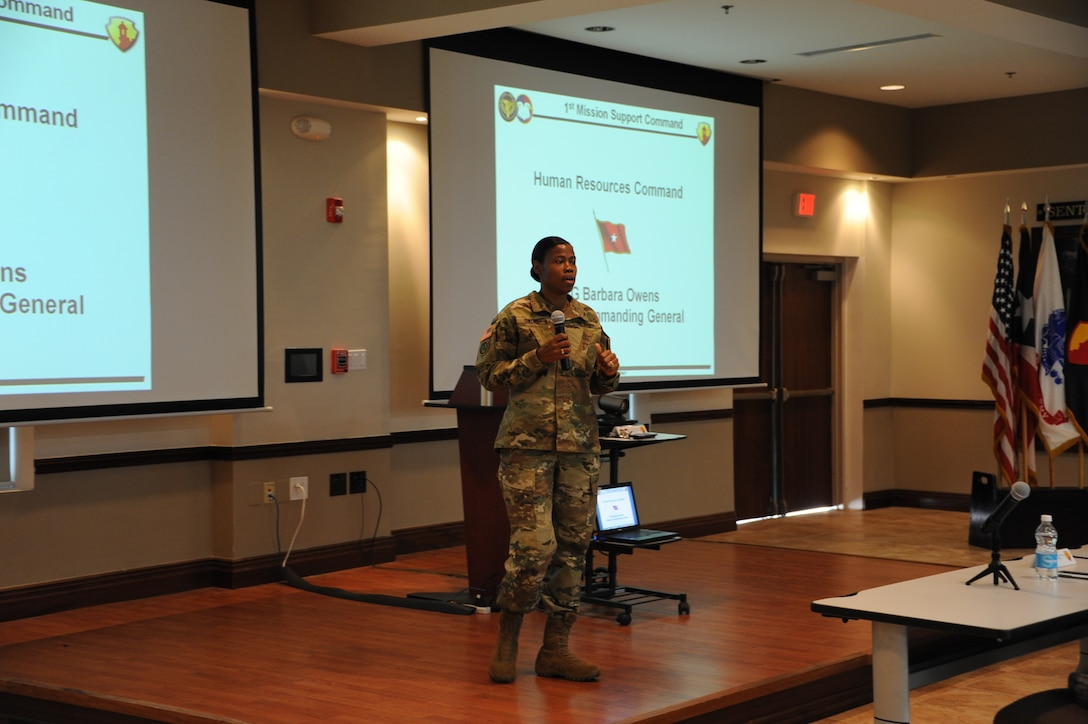 Brig. Gen. Barbara Owens, deputy commanding general, Human Resources Command, briefs 1st MSC Officers during Officer Professional Development (OPD) training session Saturday, Jan. 9. The training focused on officer career development and promotions.