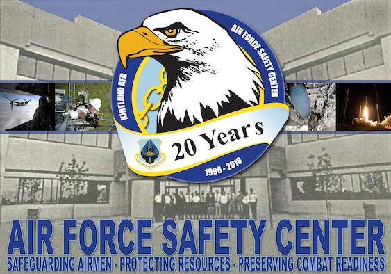 The Air Force Safety Center commemorates the organization's 20th anniversary in 2016. The center was activated Jan. 1, 1996, as a result of recommendations accepted from the Blue Ribbon Panel on Aviation in 1995, which consolidated all safety functions at Kirtland Air Force Base, Calif. (U.S. Air Force illustration/Keith Wright)
