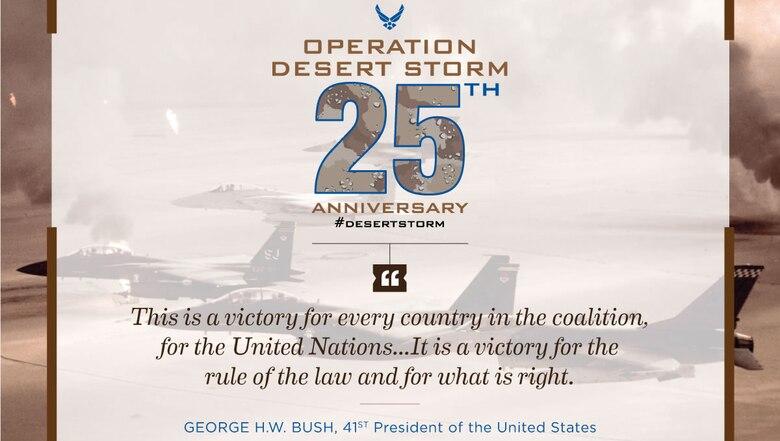 25th anniversary graphic of Operation Desert Storm