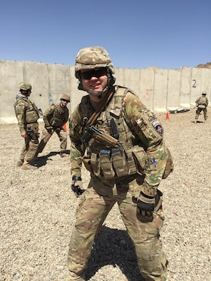 Capt. Jake English on the shooting range in Kabul, Afghanistan. (Courtesy photo)