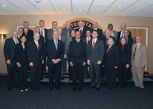 U.S. Navy Adm. Cecil D. Haney (center), U.S. Strategic Command (USSTRATCOM) commander, poses for a photo with senior leaders from the University of Nebraska during their visit to USSTRATCOM Headquarters, Offutt Air Force Base, Neb., Jan. 12, 2016. Hosting the delegation supports USSTRATCOM's Deterrence and Assurance Academic Alliance, which was established in Oct. 2014 to stimulate new thinking and develop future generations of deterrence practitioners. Since then, 20 local and national universities have joined the alliance, including the University of Nebraska campuses. During their visit, the delegation received a USSTRATCOM mission brief from Haney, toured the Global Operations Center and held discussions with subject matter experts from the command. Hosting the engagement is part of USSTRATCOM's ongoing effort to build and maintain enduring relationships with partner organizations from the private sector, academia and allied nations. One of nine DoD unified combatant commands, USSTRATCOM has global strategic missions, assigned through the Unified Command Plan, which include strategic deterrence; space operations; cyberspace operations; joint electronic warfare; global strike; missile defense; intelligence, surveillance and reconnaissance; combating weapons of mass destruction; and analysis and targeting. (USSTRATCOM photo by Steve Cunningham)