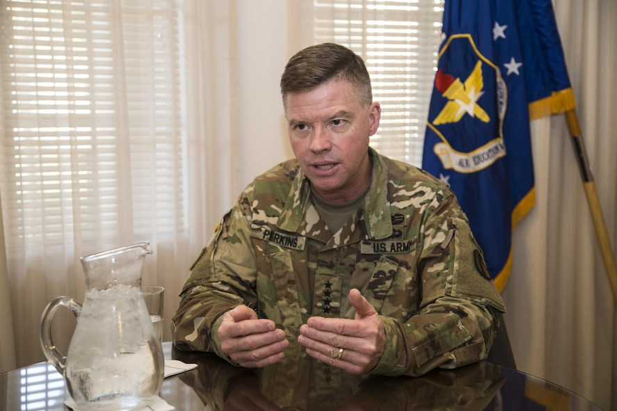 Gen. David G. Perkins, commanding general of the U.S. Army Training and Doctrine Command, visited officials from Air Education and Training Command, Jan. 7-8, to collaborate with Air Force leaders on advancing education and innovation within the respective military services.