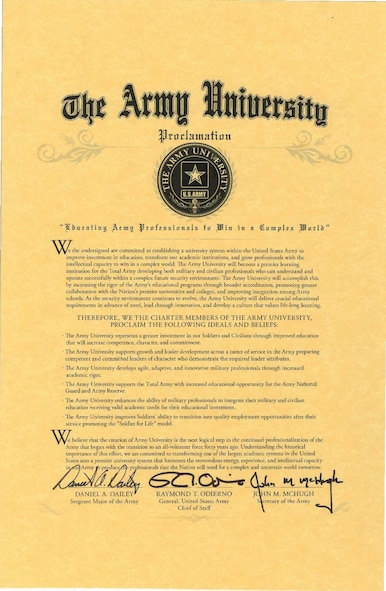 Army University officials integrated 70 separate U.S. Army Training and Doctrine Command internal school programs under one university system while syncing instruction with a variety of other TRADOC institutions. Army University is located at Fort Leavenworth, Kansas. It was established July 7, 2015. Air University is similar in structure.