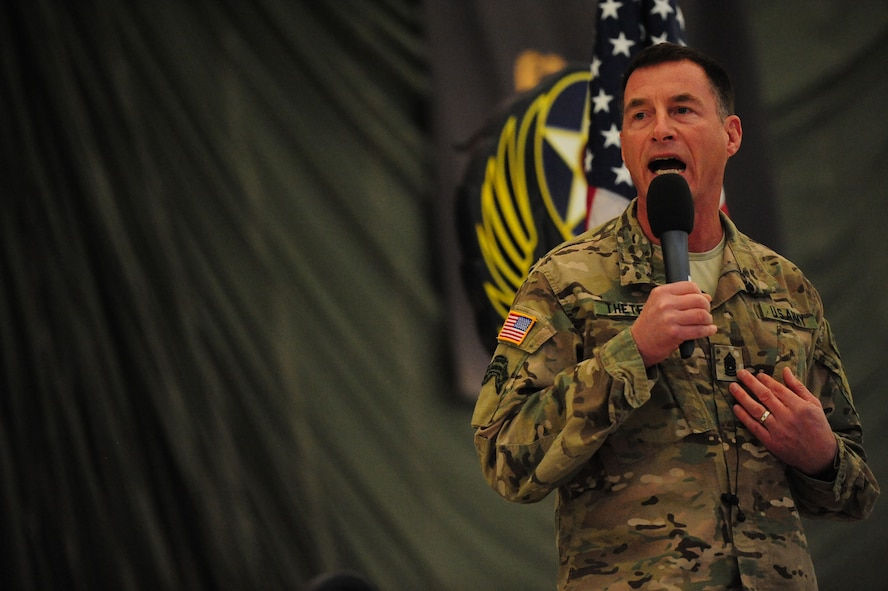Command Sgt. Maj. William Thetford, U.S. Special Operations Command senior enlisted advisor, speaks with the Cannon enlisted force Jan. 7, 2016, during an all-call at Cannon Air Force Base, N.M. (U.S. Air Force photo/Tech. Sgt. Manuel Martinez)