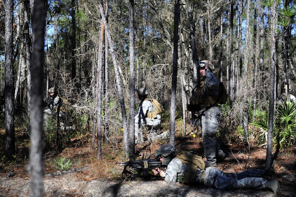 Members of the 1st Special Operations Security Forces Squadron provide cover during exercise Frigid Archer 2016 at Eglin Range, Fla., Jan. 10, 2016. Frigid Archer tested 1st Special Operations Wing Air Commandos' expertise through a myriad of operational and support requirements. (U.S. Air Force photo by Staff Sgt. Tyler Placie)