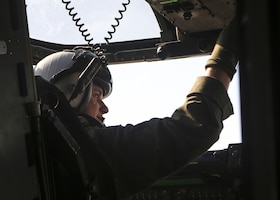 1st Lt. Erik Erlandson completes the pre-flight checklist aboard the MV-22B Osprey prior to take-off of his final flight with Marine Medium Tiltrotor Training Squadron 204 at Marine Corps Air Station New River, N.C., Jan. 12, 2016. Erlandson underwent four months of intensive flight training on the MV-22B to ensure he could meet all the standards required of Marine Corps pilots in the operating forces.(U.S. Marine Corps photo by Cpl. Michelle Reif/ Released.)