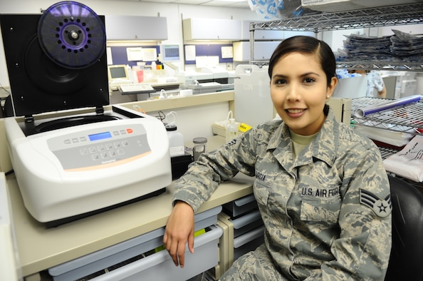Senior Airman Jazmin Garcia, 325th Medical Support Squadron medical laboratory technician, poses for a photo at the 325th Medical Group laboratory Jan. 12. Garcia was chosen as this week's unsung hero. (U.S. Air Force photo by Senior Airman Ty-Rico Lea/Released)